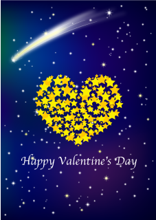 Meteor and Star Heart Valentine