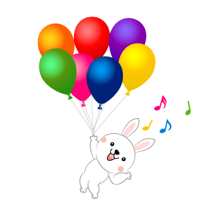 Bunny flying in the balloon