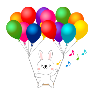 Rabbit flying in the balloon swing