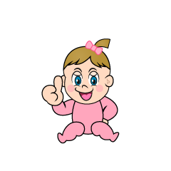 Thumbs Up Girls Baby Clipart