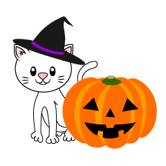 White Cat Halloween Pumpkin
