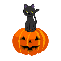 Cute Black Cat Halloween Pumpkin