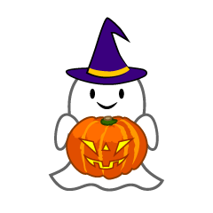 Ghost with Pumpkin Clipart