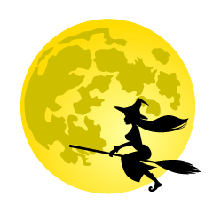 Full Moon and Flying Witch Clipart