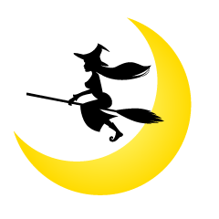 Flying Witch and Crescent Moon Clipart