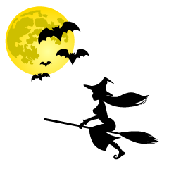 Flying Witch and Bats Clipart