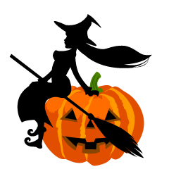 Sitting Witch on Pumpkin Clipart