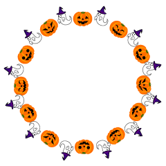 Ghost and Pumpkin Wreath Clipart