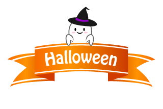 Halloween Ghost and Ribbon Clipart