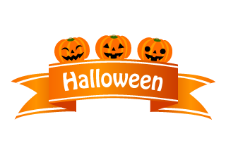 Halloween Pumpkin and Ribbon Clipart