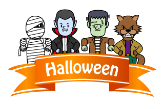 Halloween Monster Ribbon Clipart