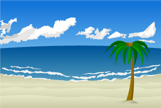 A palm tree on a sandy beach background