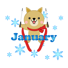 Skying Dog January Clipart