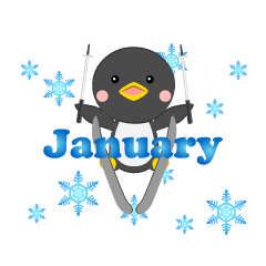 Skying Penguin January Clipart
