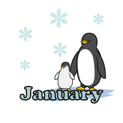 Penguin parent and child January Clipart