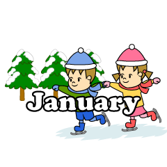 Children Skating January Clipart