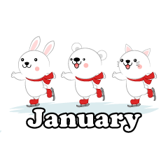 Animal Skating January Clipart