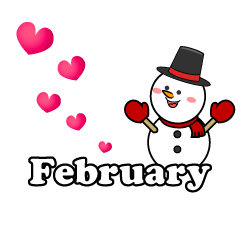 Snowman Heart February Clipart