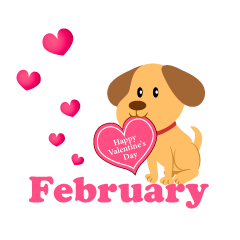 Cute Dog Valentine February Clipart