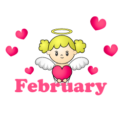 Heart Angel February Clipart