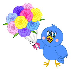 Blue Bird Giving Flower Cartoon