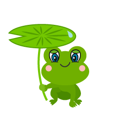 Cute Frog with Leaf Umbrella Cartoon