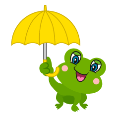 Cute Frog with Umbrella