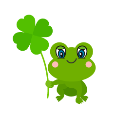 Cute Frog with Clover Cartoon