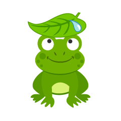 Frog with a Leaf Clipart