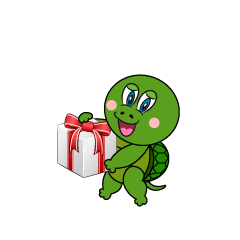 Turtle Giving Gift Cartoon
