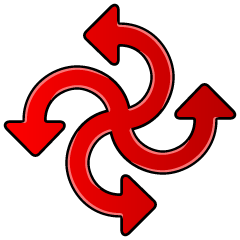 Swirl-winding red Arrow symbol