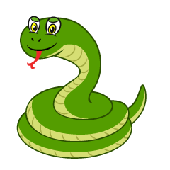 Green Snake Coil Cartoon
