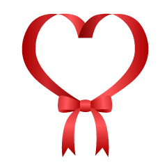 Heart Red Ribbon with bow Clipart
