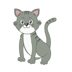 Gray Tiger Cat Cartoon