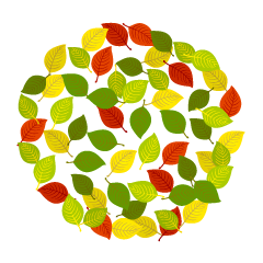 Colorful Leaf Wreath Clipart