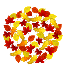 Color Fallen Leaf Wreath Clipart