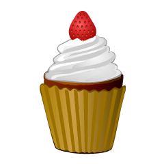 Strawberry Vanilla Cupcake Clipart