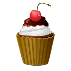 Chocolate Cherry Cupcake Clipart