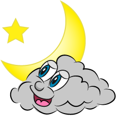 Moon and Cloud Cartoon