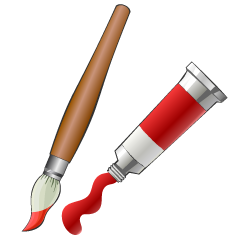 Art Brush and Paint Tube Clipart