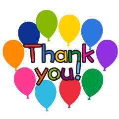 Colorful Balloons Thank You Clipart