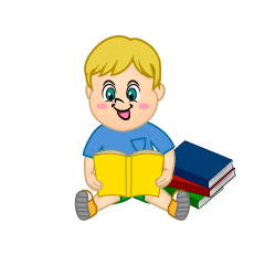 Kids Sitting and Reading Clipart