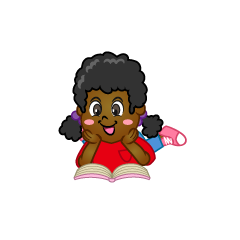 Kids Relaxing Reading Clipart