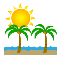 Sun and Palm Trees Clipart