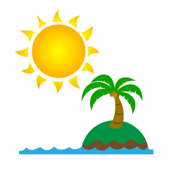 Sun and Island Clipart