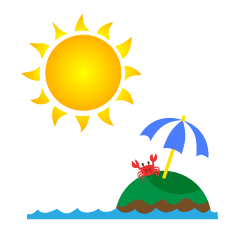 Sun and Crab Clipart