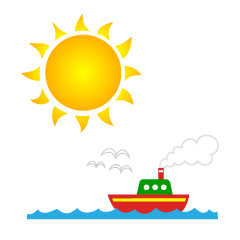 Sun and Ship Clipart