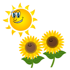 Sun and Sunflower Cartoon