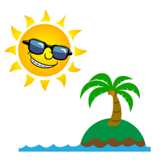 Sun and Island Cartoon