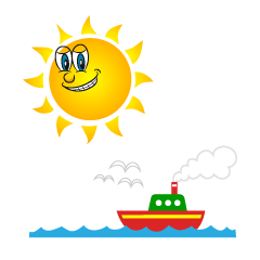 Sun and Ship Cartoon